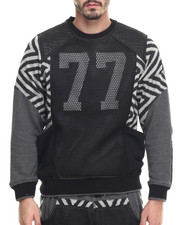Pullover Sweatshirts - Mesh Covered Sweatshirt