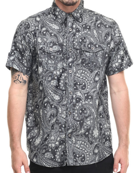 Ur-ID 218864 Buyers Picks - Men Black Light Denim Paisley S/S Button Down Shirt