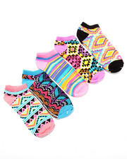 Girls - Rainbow Salsa 5Pk No Show Socks