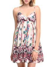 Women - Paisley Border Print Cotton Babydoll Dress