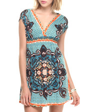 Women - Mosaic Print Short Surplice Dress