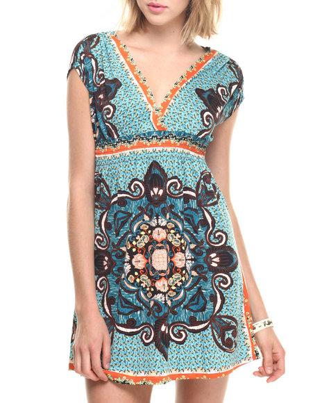 Ur-ID 218792 She's Cool - Women Orange,Teal Mosaic Print Short Surplice Dress