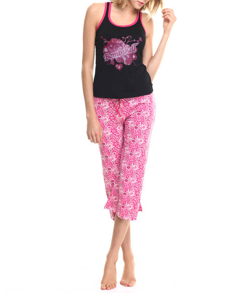 Ur-ID 218804 DRJ Lingerie Shoppe - Women Black,Pink Bombshell Capri Pj Set