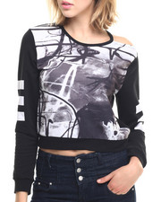 Tees - Cold Shoulder French Terry Sweatshirt