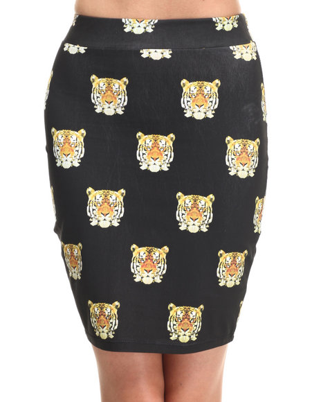 Ur-ID 218908 Lady Enyce - Women Black Tiger Midi Skirt