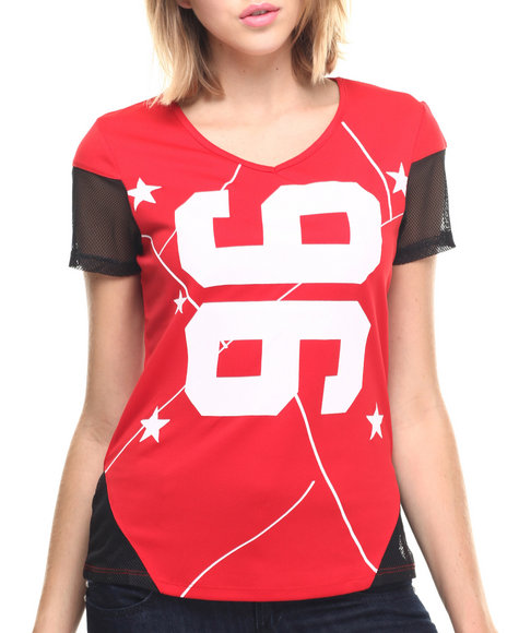 Ur-ID 218912 Lady Enyce - Women Red Mesh Trim Active Jersey Top