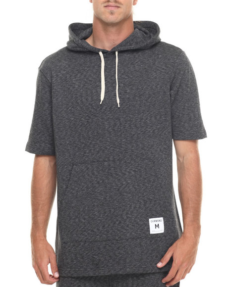 Ur-ID 218919 Diamond Supply Co - Men Black Speckle Hooded Shirt
