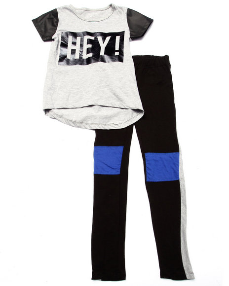 La Galleria - Girls Grey Hey! Color Block Leggings Set (7-16)