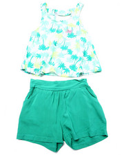 Sets - 2 PC SET - FLORAL TOP & SOFT SHORTS (2T-4T)