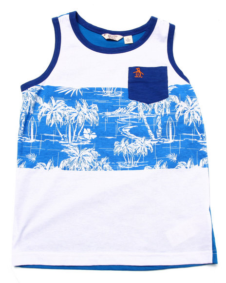Original Penguin - Boys White Palm Tree Tank Top (8-20)