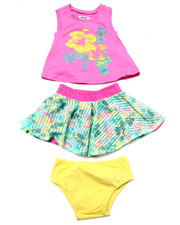 Sets - 3 PC SET - TOP & FLORAL SKIRT (2T-4T)