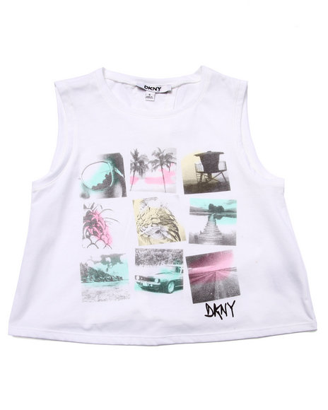 Dkny Jeans - Girls White Tropical Dreaming Top (7-16)