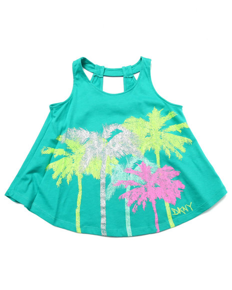 Dkny Jeans - Girls Teal Palms Tank (7-16)