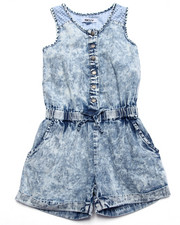 Girls - LAZY DAYZ DENIM & MESH ROMPER (2T-4T)