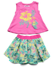 Sets - 3 PC SET - TOP & FLORAL SKIRT (4-6X)