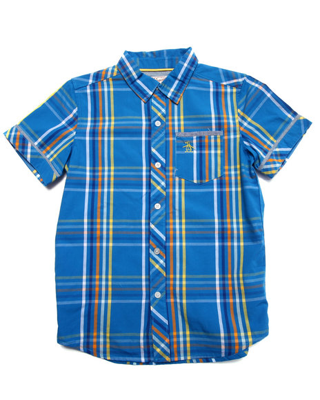 Original Penguin - Boys Blue Plaid S/S Woven Shirt (8-20)