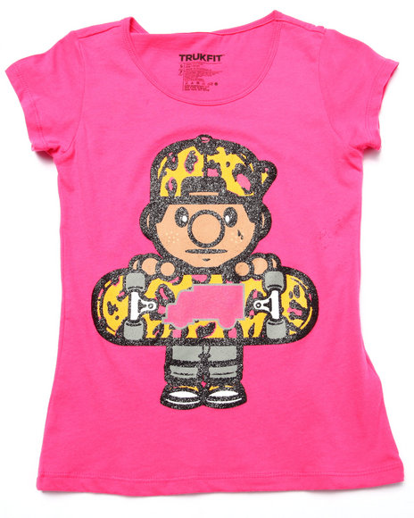 Trukfit - Girls Pink Leopard Lil' Tommy Skater Tee (7-16)