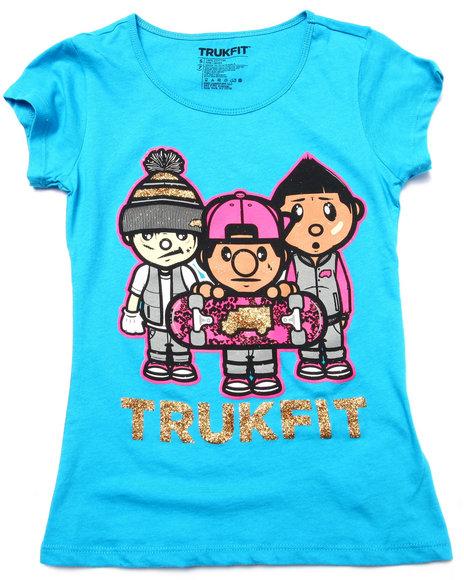Trukfit - Girls Blue Trukfit Crew Tee (7-16)