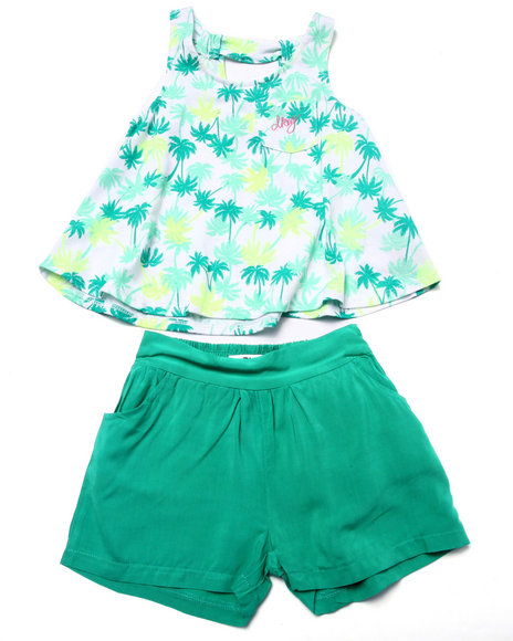 Dkny Jeans - Girls Teal 2 Pc Set - Floral Top & Soft Shorts (4-6X)