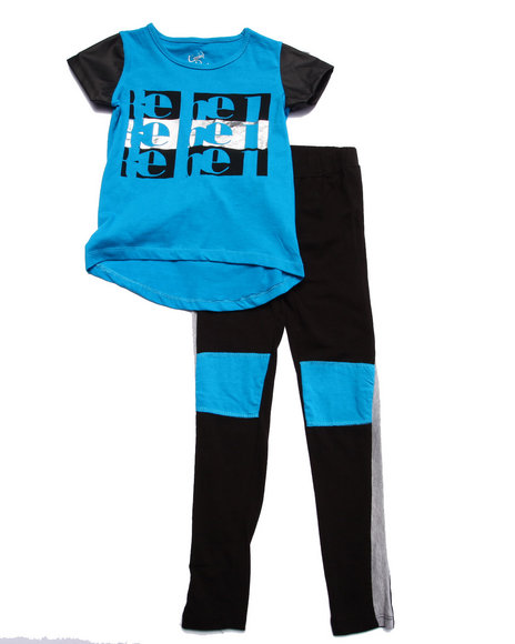 La Galleria - Girls Teal Rebel Color Block Leggings Set (7-16)