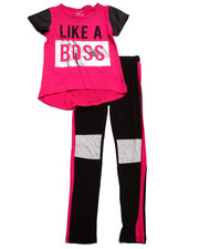 Sets - LIKE A BOSS COLOR BLOCK LEGGINGS SET (7-16)