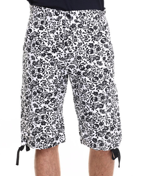 Basic Essentials - Men Black,White Skull / Flower Shorts