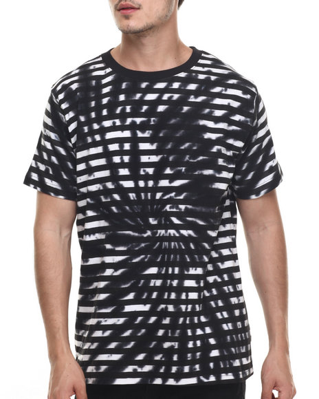Basic Essentials - Men Black Kaleidoscope Tie - Dye Striped S/S Tee