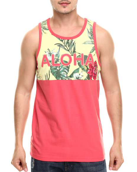 Ur-ID 218937 Basic Essentials - Men Dark Pink Aloha Tank Top