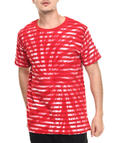 Basic Essentials - Men Red Kaleidoscope Tie - Dye Striped S/S Tee - $14.99