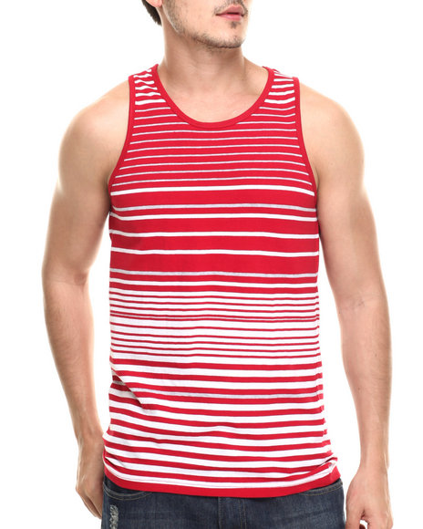 Basic Essentials - Men Red Surf's Up Striped Tank Top