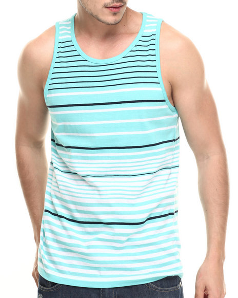 Basic Essentials - Men Teal Surf's Up Striped Tank Top