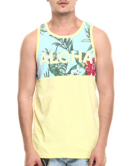 Ur-ID 218950 Basic Essentials - Men Yellow Aloha Tank Top