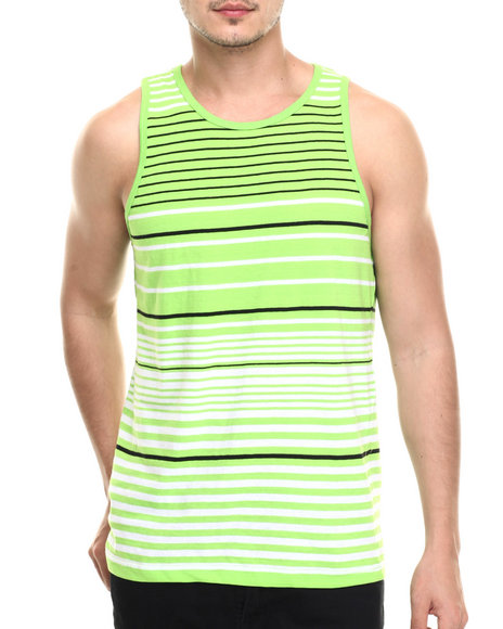 Basic Essentials - Men Lime Green Surf's Up Striped Tank Top