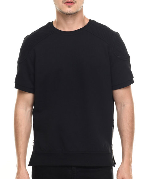 Allston Outfitter - Men Black Quilted Shoulder T-Shirt