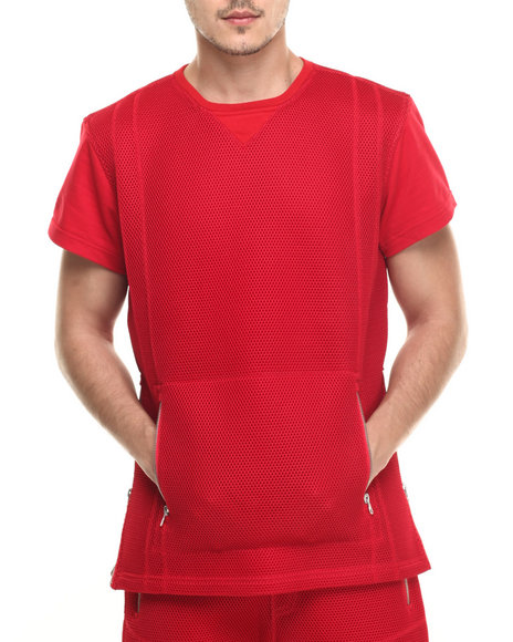 Ur-ID 218961 Allston Outfitter - Men Red Honey Comb Mesh T-Shirt