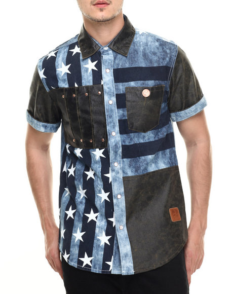 Allston Outfitter - Men Medium Wash Vintage Panel Acid Wash Chambray S/S Button-Down - $79.99