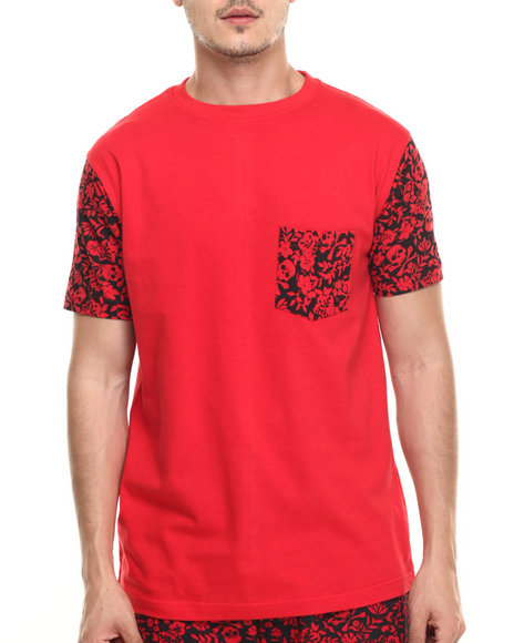 Basic Essentials - Men Red Skull / Flower Pocket S/S Tee - $18.99
