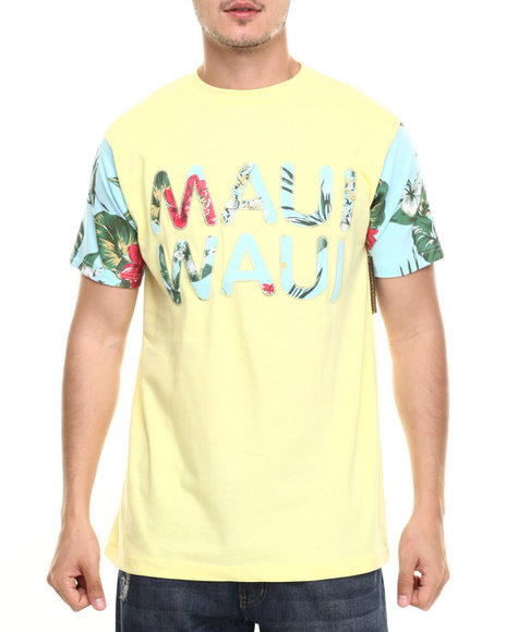 Ur-ID 218970 Basic Essentials - Men Yellow Maui Waui S/S Tee