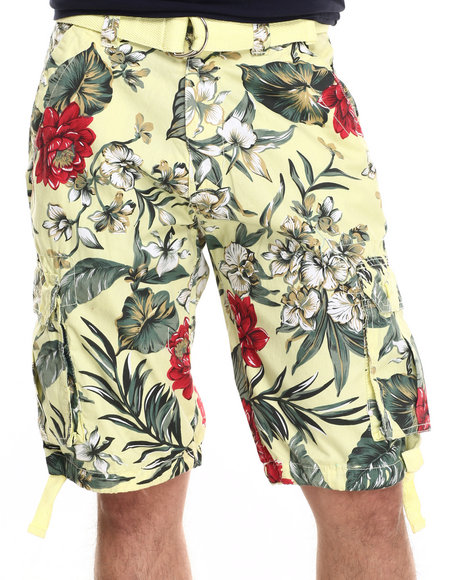 Basic Essentials - Men Yellow Get Leid Belted Shorts