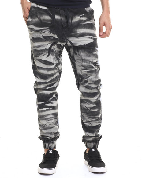Ur-ID 218966 Basic Essentials - Men Black Kaleidoscope Crinkle - Wash Denim Joggers