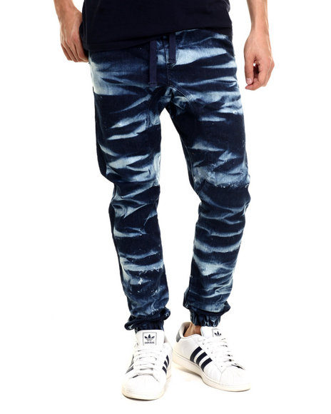 Ur-ID 218975 Basic Essentials - Men Blue Kaleidoscope Crinkle - Wash Denim Joggers