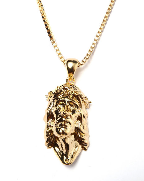King Ice Men 14K Gold Jesus Piece Necklace Gold