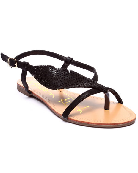 Ur-ID 218587 Fashion Lab - Women Black Leaf Sandals