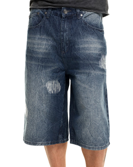 Enyce - Men Medium Wash Crinkle Distressed Denim Short
