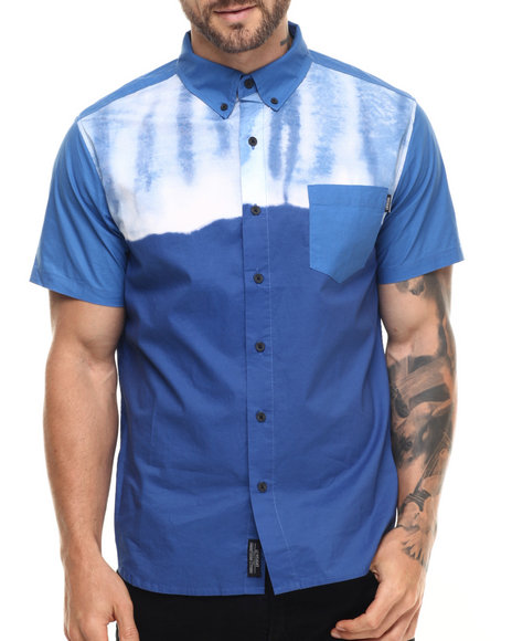 Insight - Men Blue Two Tone S/S Button-Down