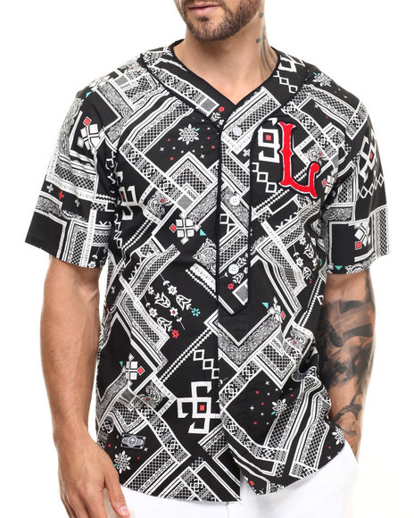 Ur-ID 219070 LRG - Men Black Los Lifted S/S Baseball Button-Down
