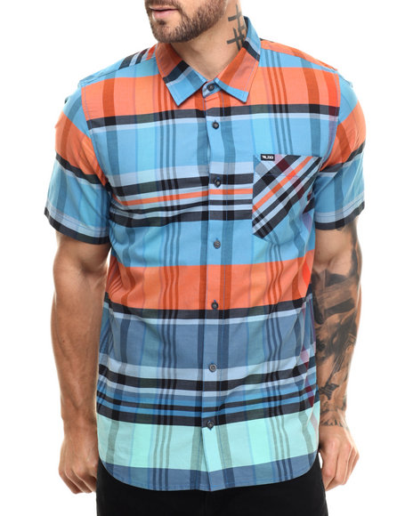Ur-ID 219074 LRG - Men Blue Rc Madras S/S Button-Down