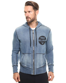 True Religion - Washed Out Zip Up Logo Hoodie