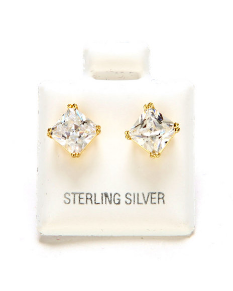 King Ice Men 925 Sterling Silver Gold Clear Princess Stud Earing (6Mm) Gold - $40.00