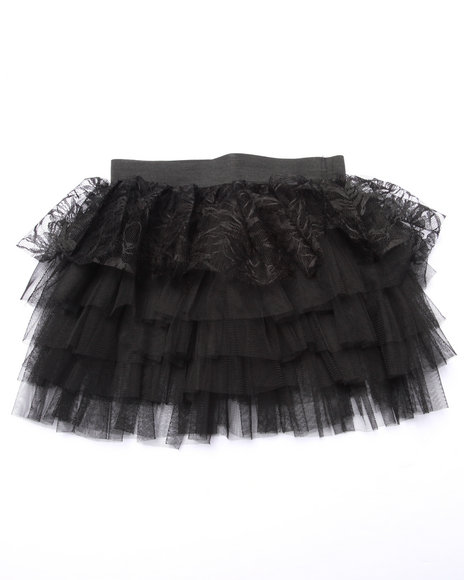 She's Cool - Girls Black Lace/Tulle Tiered Ruffle Skirt (4-6X)